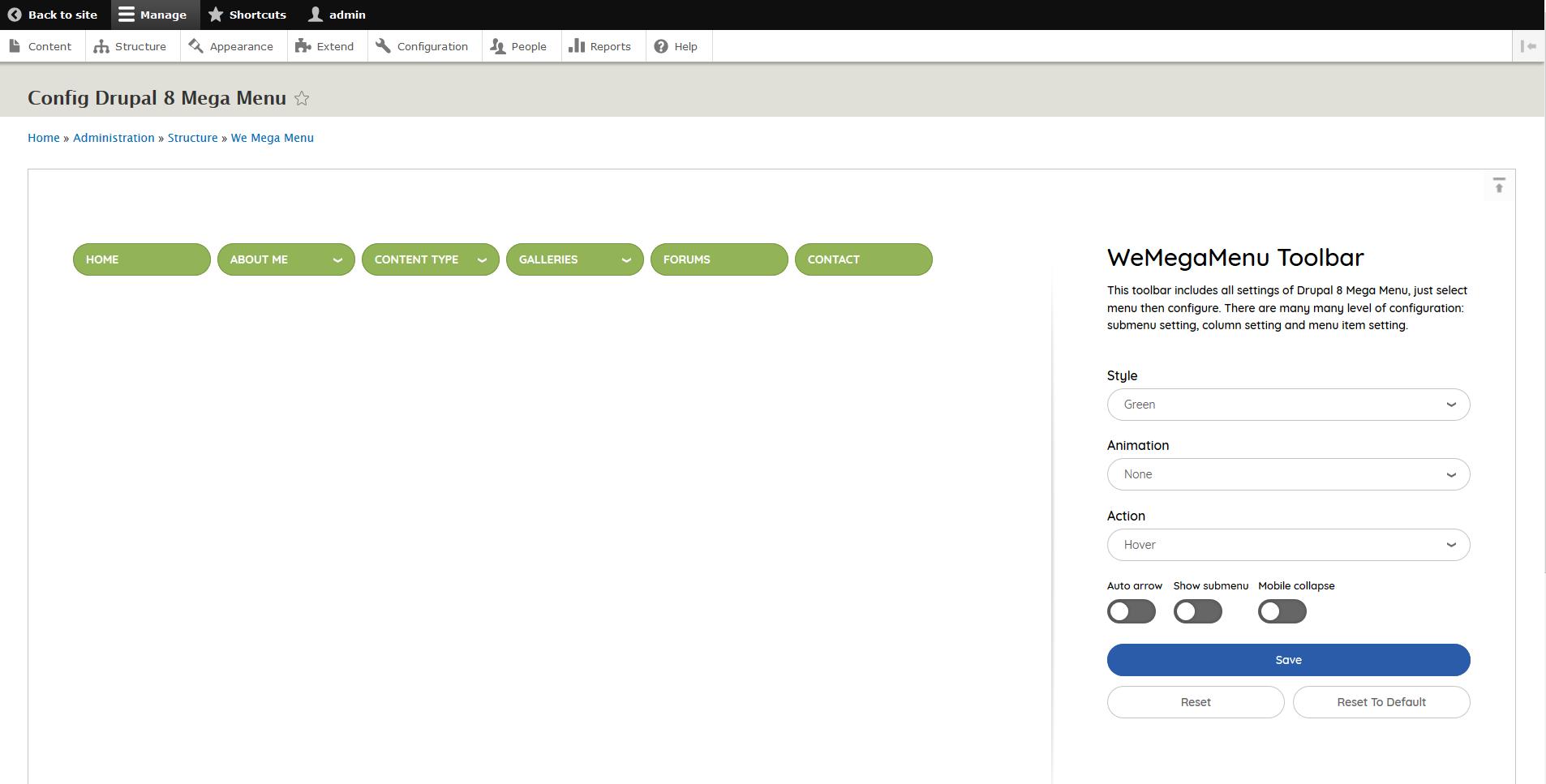 Megamenu D8 Documentation | WeebPal