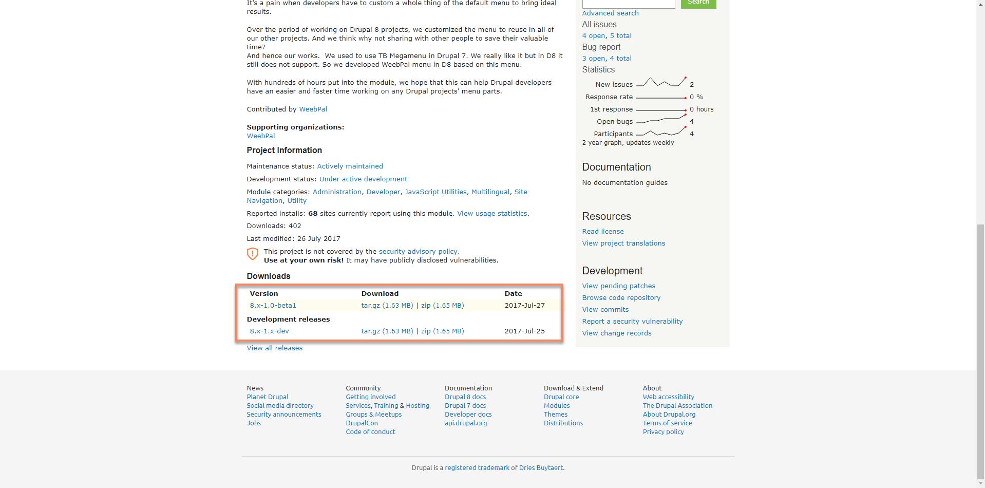 Megamenu D8 Documentation   WeebPal